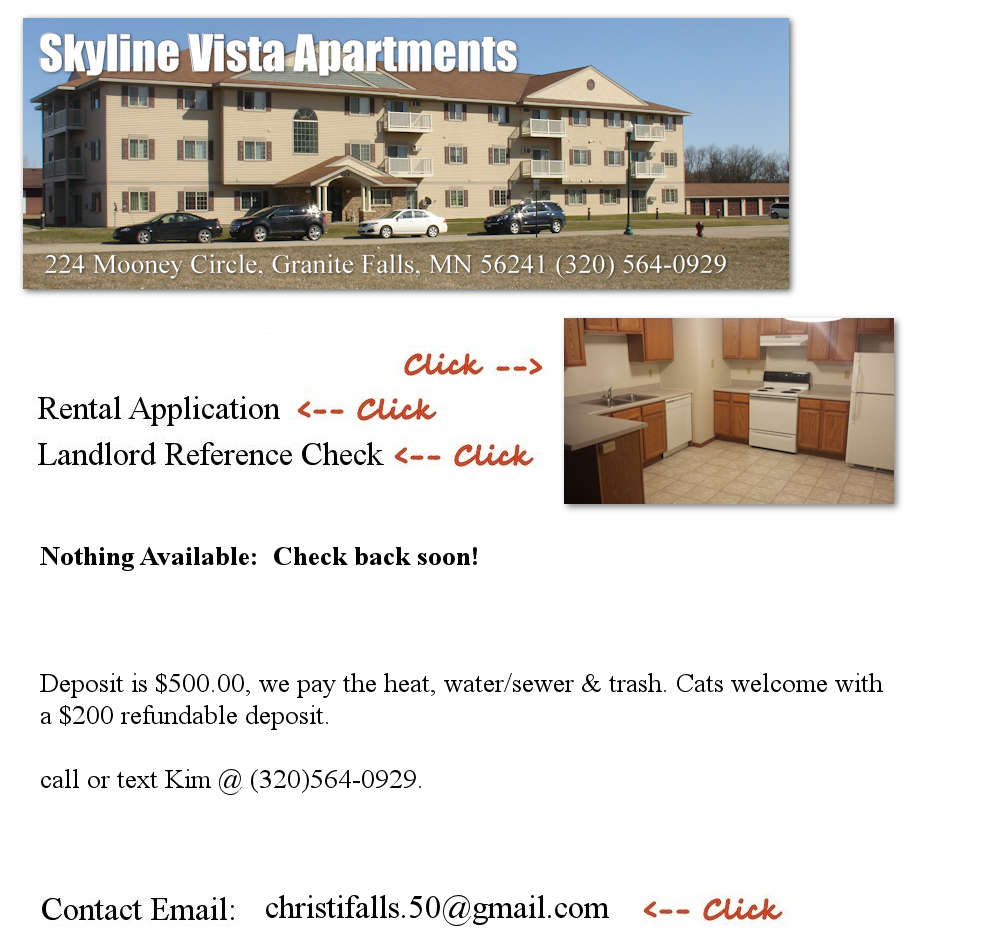 Pinewood Village Apartments: Skyline Vista Apartments, Granite Falls, MN 56241 (320)564